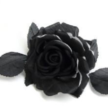 Double Petal Two Tone Black and White Silk Rose